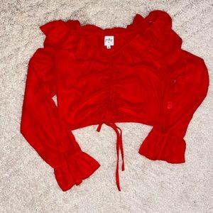 Red sheer ruffle crop top